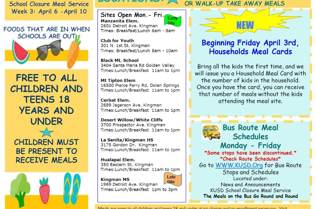KUSD Meal Service – Week Three Adjustments to Bus Stop Delivery