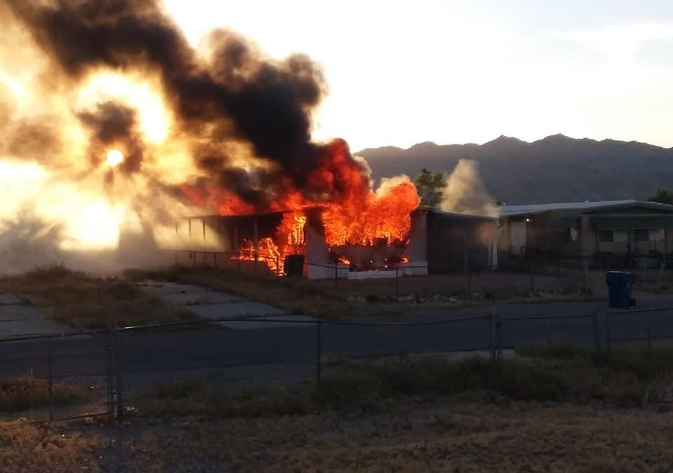 Mobile home fire claims life