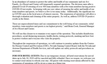 Avi Resort & Casino temporarily suspends all operations