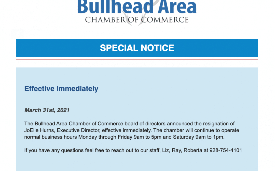 Resignation of Bullhead Area Chamber of Commerce Executive Director